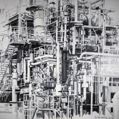 Pernis 2 buizen structuur | Olieverf op doek | 200 x 230 cm