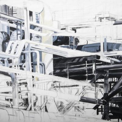 Pernis 1 | Houtskool schets met olieverf op doek | 150 x 220 cm