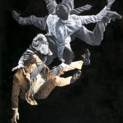 Vallen | Olieverf + zwarte lak op doek | 150 x 200 cm
