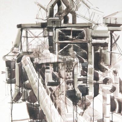 Hoogovens | Gewassen  inkt met stift | 70 x 100 cm
