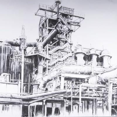 Hoogoven landschap | Grote houtskool tekening 230 grams | 150 x 350 cm